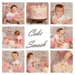 Collage aus einem Cake-Smash-Shooting mit einem Mädchen